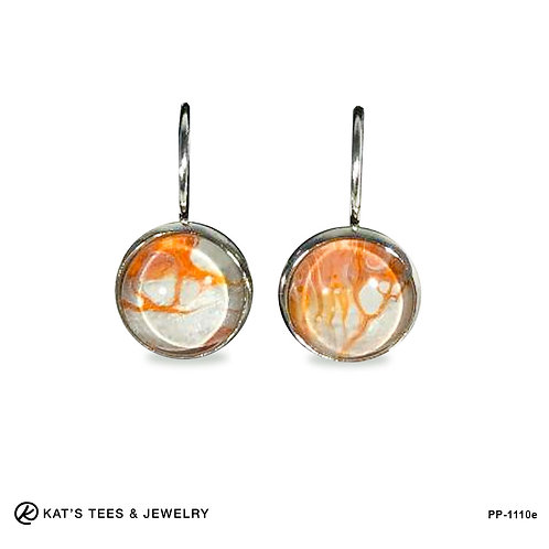 Small orange and white stainless steel leverback earrings