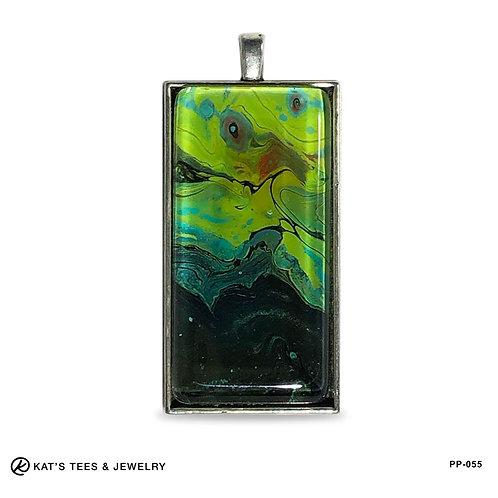 Southwestern turquoise black - large pendant 1x2