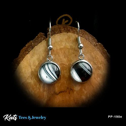Stainless Steel earrings - black and white - wearable art