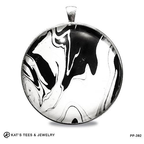Large artistic black and white pendant