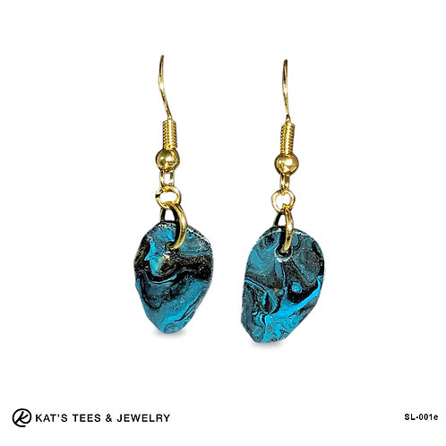 Turquoise black and gold slate earrings