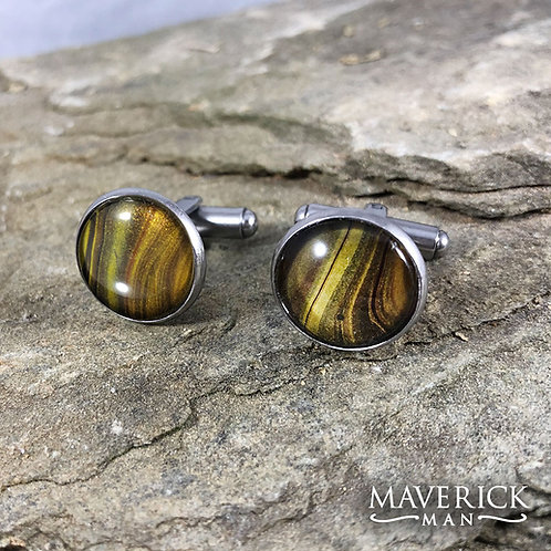 Classy stainless steel cufflinks in tiger eye colors