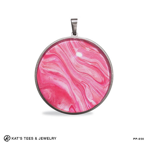 Large round stainless pendant in pinks and silver