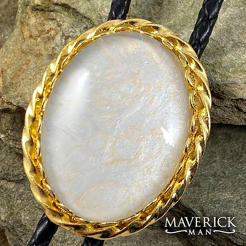 Twisted gold bolo with hand painted pearl stone