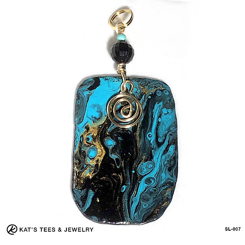 Turquoise gold and black slate pendant