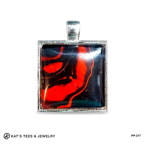 Red and black small pendant from poured acrylics