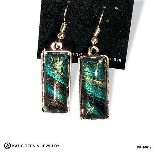 Shimmery metallic earrings in peacock colors set in rose gold