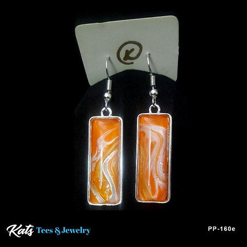Poured Painting earrings - orange and silver - wearable art!