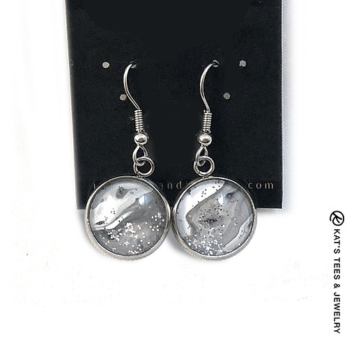 Gray and white sparkly art in stainless steel earrings