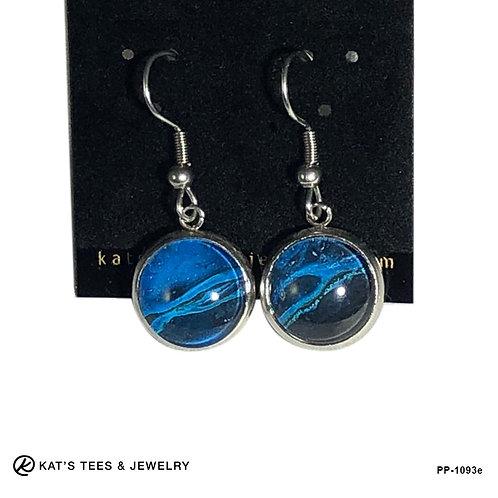 Striking blue and black stainless steel earrings