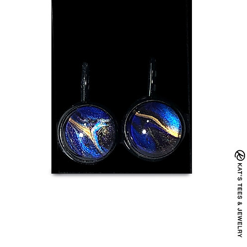 Unusual metallic sapphire blue gold and black poured acrylic earrings