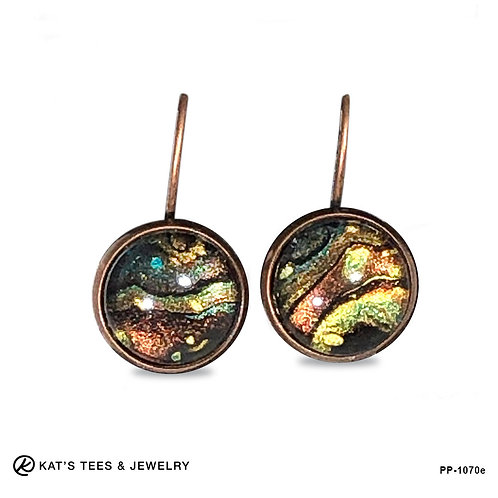 Artistic earrings in earthtone metallics with teal and black