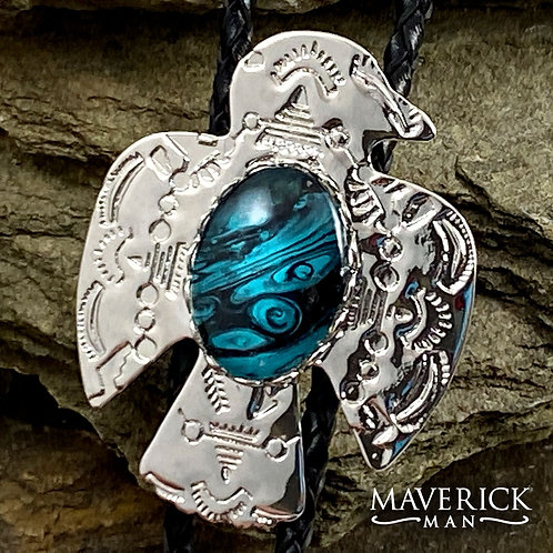 Small thunderbird bolo with turquoise and black handpainted stone