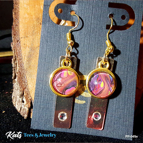 Poured Painting FANCY earrings - purple pink gold green - wearable art!