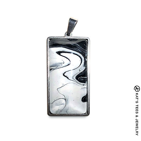 Stainless steel pendant with black and white art
