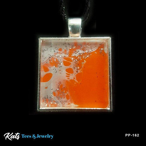 Poured Painting small square pendant - orange and silver - wearable art!