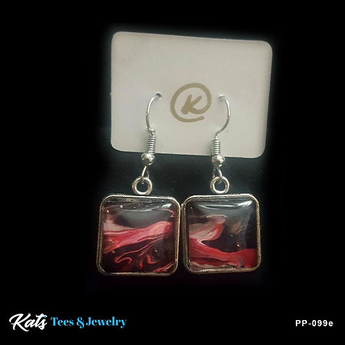 Poured Painting earrings - crimson black and white