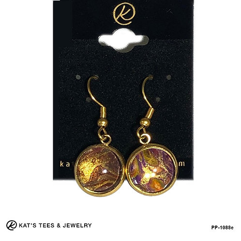 Tiger eye earrings in gold plated stainless steel