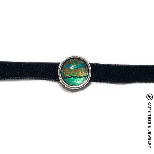 Shimmery emerald green and copper velvet choker