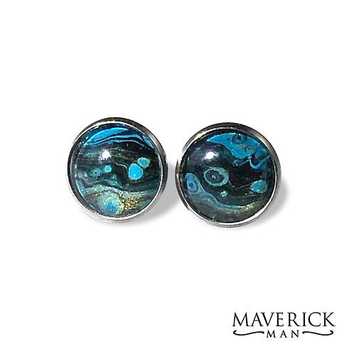 Stainless steel cufflinks in turquoise gold and black