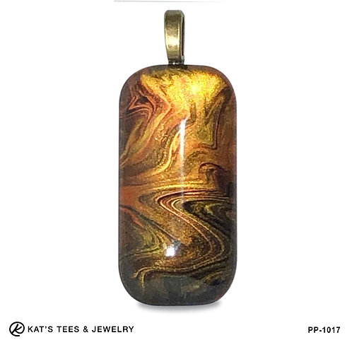 Large tiger eye pendant from poured acrylics