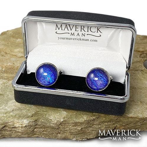 Artistic and distinctive metallic sapphire and purple cuff links