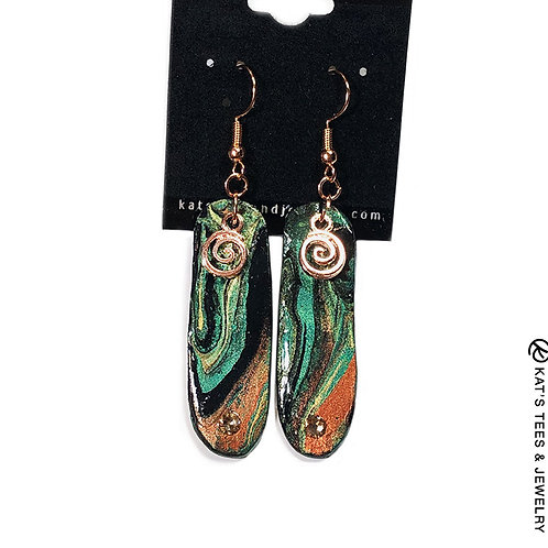 Long slate earrings with Swarovski crystals and rose gold spirals