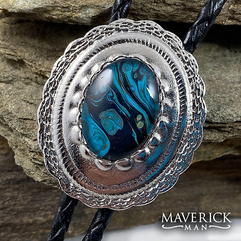 Concho bolo with hand painted turquoise black and gold paint