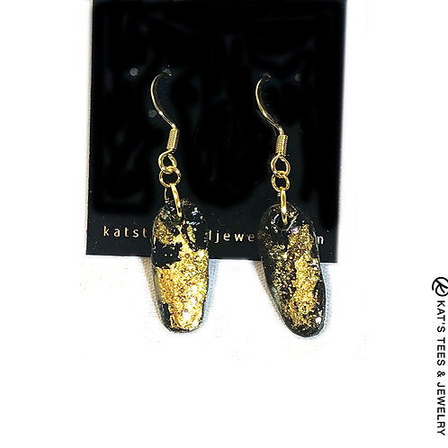 Small gold and black slate earrings on stainless steel hooks