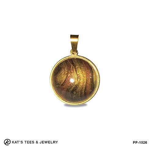 Small tiger eye pendant in gold stainless steel
