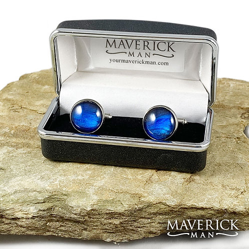 Unique hand painted cuff links with metallic sapphire