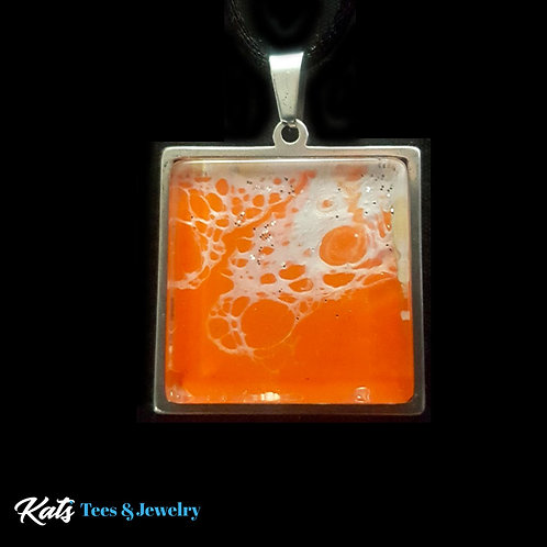 Stainless Steel square pendant - orange and white - wearable art!