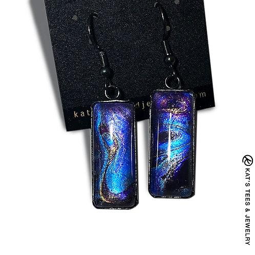 Sapphire blue and metallic purple stainless steel earrings