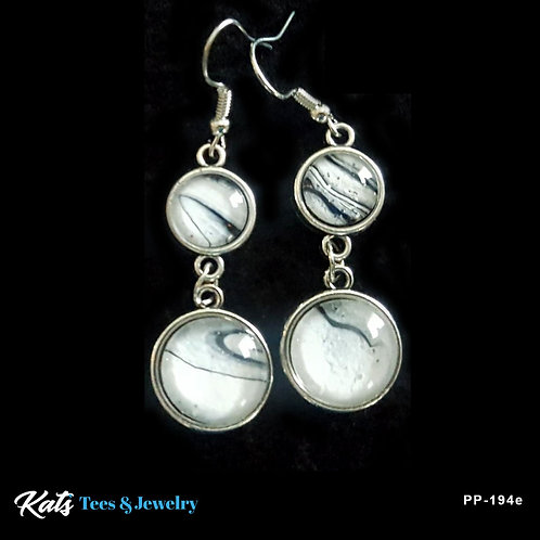 Poured Painting dangly earrings - black and white - wearable art