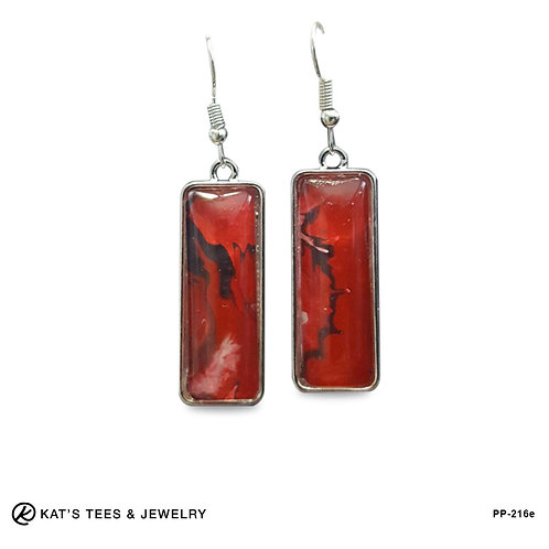 Red and black dangly earrings from poured acrylics