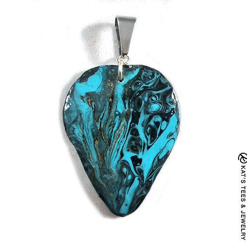Turquoise and black painted slate pendant