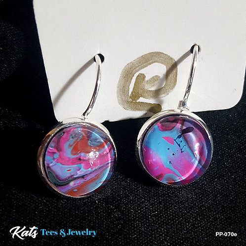 Poured Painting earrings - pink blue black purple - wearable art!