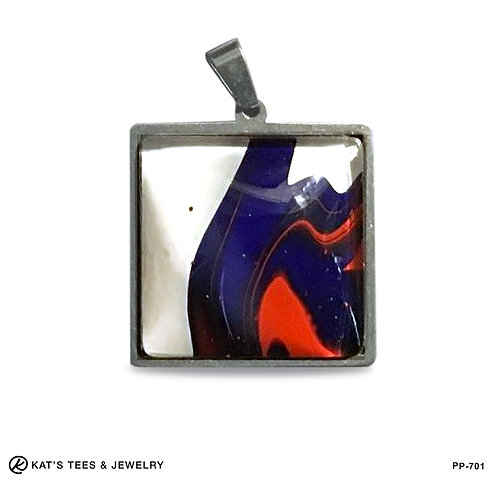 Red white and blue poured acrylic pendant in stainless steel