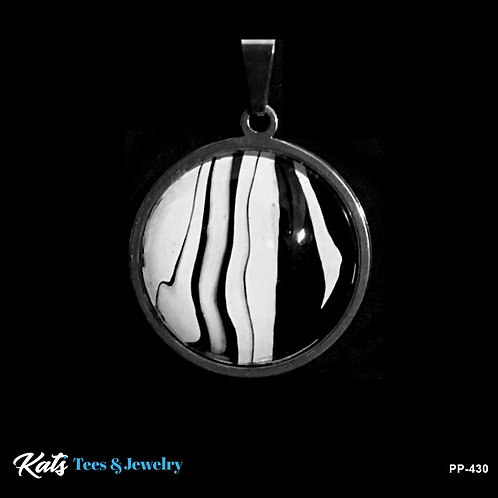 Stainless Steel Poured Painting pendant - sm black and white - wearable