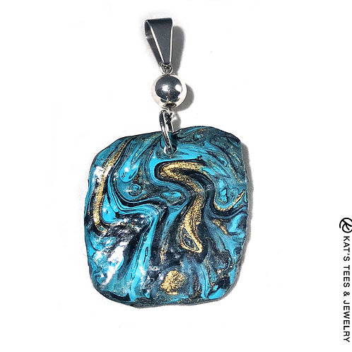 Gorgeous turquoise gold and black painted slate pendant