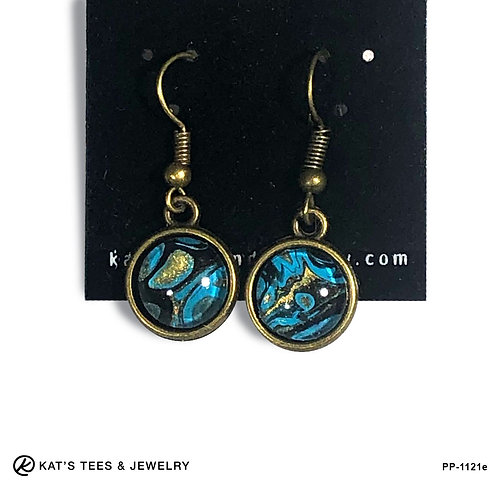 Striking turquoise black and gold in antique gold earrings