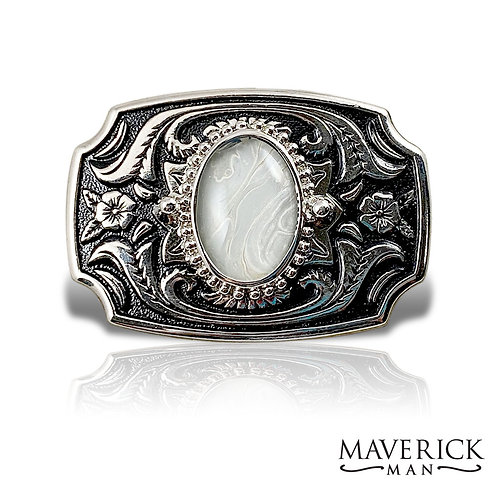 Silver filigree belt buckle with hand painted pearl stone