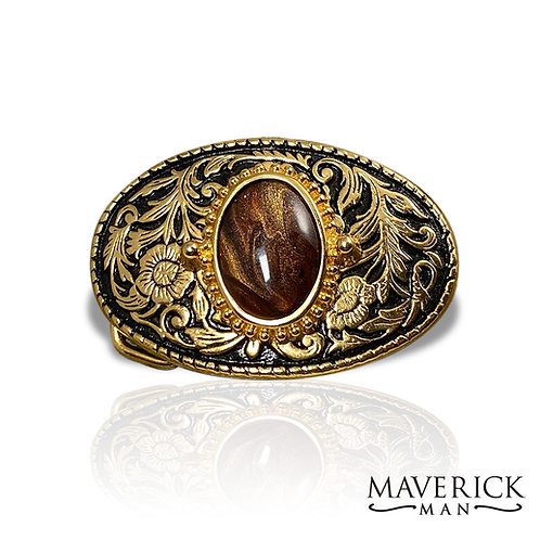 Gold and black belt buckle with hand painted tiger eye stone