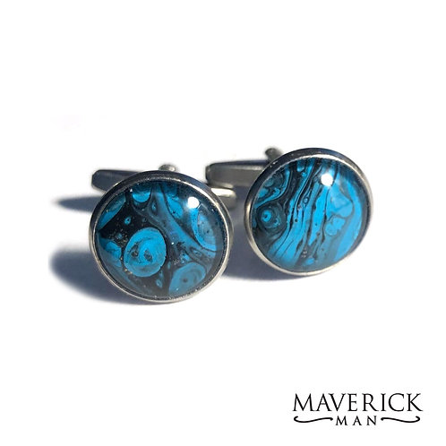 Hand painted stainless steel cufflinks in black and turquoise