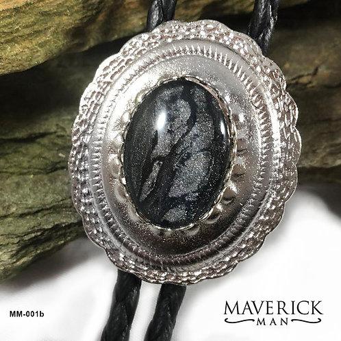 Rockin concho bolo in black and platinum silver