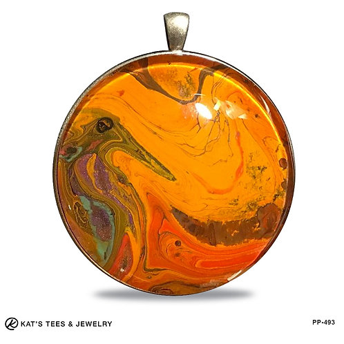 Exotic earthtones in an extra large pendant
