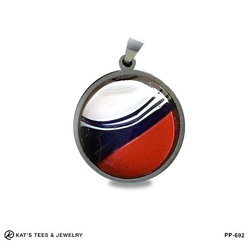 Small round stainless pendant in patriotic red white and blue