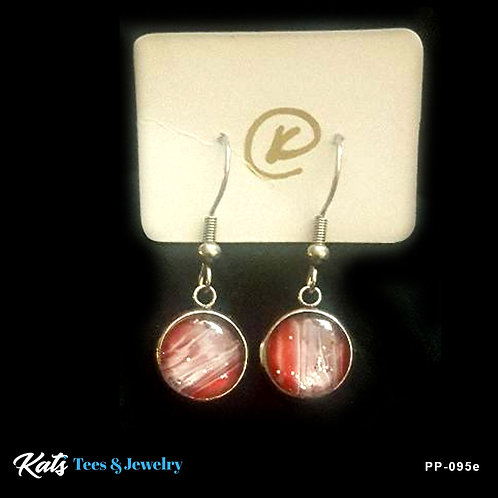 Poured Painting stainless steel earrings - crimson and white
