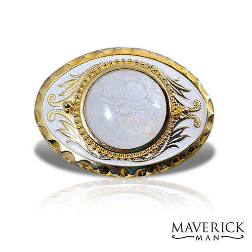 Eye-catching bold and white belt buckle with hand painted pearl stone