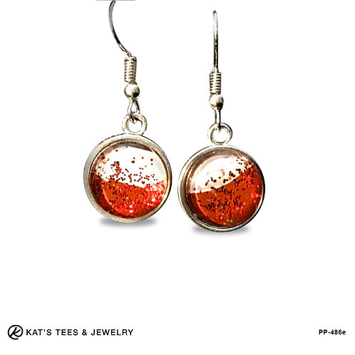 Red and White sparkly earrings